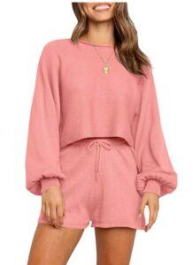 女士夏季休闲服装推荐ZESICA Women's Casual 2 Piece Short Sweater Outfits Sets