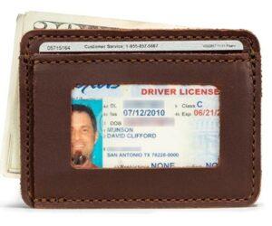 经典前袋钱包 Saddleback Leather Co. Slim Full Grain Leather Front Pocket ID Window Wallet