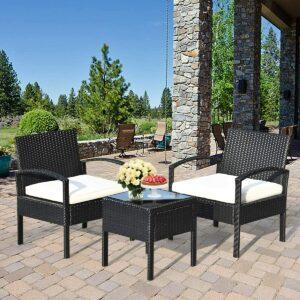 3件式庭院家具(带2个软垫椅子和茶几) Tangkula 3 Piece Patio Furniture Set