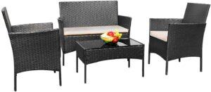 4件庭院户外藤制家具套 Greesum 4 Pieces Patio Outdoor Rattan Furniture Sets
