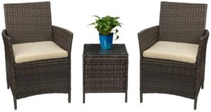 Devoko Patio藤制带桌子椅子 Devoko Patio Porch Furniture Sets 3 Pieces