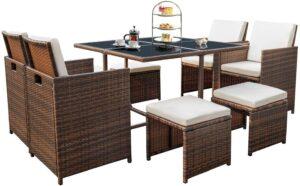 Devoko9件户外庭院餐具套装 Devoko 9 Pieces Patio Outdoor Dining Sets