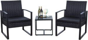 Flamaker三件式庭院组合 Flamaker 3 Pieces Patio Set Outdoor Wicker Patio Furniture Sets