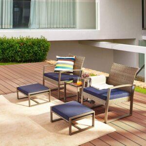 LOKATSE 5件式柳条户外庭院家具 LOKATSE HOME 5-Piece Wicker Outdoor Conversation Set Patio Furniture