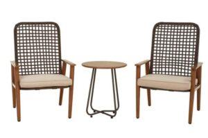 Lokatse Home 3件式柳条户外桌椅套装 LOKATSE HOME 3-Piece All Weather Outdoor Furniture Set