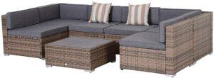 Outsunny 7件式户外露台沙发套件 Outsunny 7-Piece Outdoor Wicker Patio Sofa Set