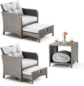 Pamapic 5件式柳条露台家具套装 PAMAPIC 5 Pieces Wicker Patio Furniture Set