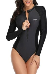 一件式拉链冲浪泳衣 Daci Women Rash Guard Long Sleeve One Piece Swimsuit