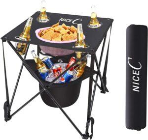 便携式野营桌 NiceC Folding Table with Cooler Built-in