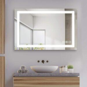 可调光的壁挂化妆镜 SL4U 36 x 24 Inch LED Lighted Bathroom Mirror