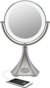 带有蓝牙功能的化妆镜 iHome All-in-One Phone Charging Makeup Mirror