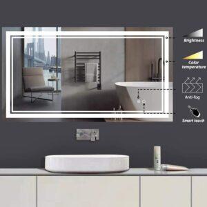带LED,防雾背光浴室镜 Keonjinn 40 x 24 Inch LED Bathroom Vanity Mirrors Wall Mounted