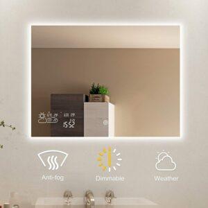 最佳智能浴室镜 BYECOLD Horizontal Vanity Touch Switch Bathroom Mirror Weather Forecast