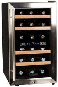 最受好评的18瓶双区红酒冰柜 Koldfront 7 Series 14 Inch 18 Bottle Free Standing Dual Zone Cooling Wine Cooler