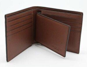 精美的手工男士钱包 Coach Compact ID Wallet in Sport Calf Leather