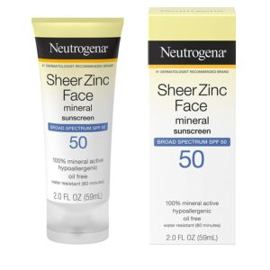 防晒乳液 Neutrogena Sheer Zinc Oxide Dry-Touch Mineral Face Sunscreen Lotion