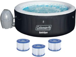 Coleman4人充气热水浴缸水疗中心 Coleman 13804-BW SaluSpa 4 Person Portable Inflatable Outdoor Round Hot Tub Spa