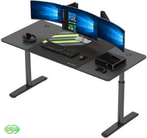 升降桌推荐DESIGNA Height Adjustable Computer Desk, 60 Inch with Free Large Mousepad