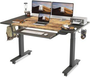 升降桌推荐FEZIBO Dual Motor Height Adjustable Electric Standing Desk with Keyboard Tray, 63 x 24 Inch