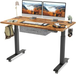 升降桌推荐FEZIBO Electric Height Adjustable Standing Desk with Drawer