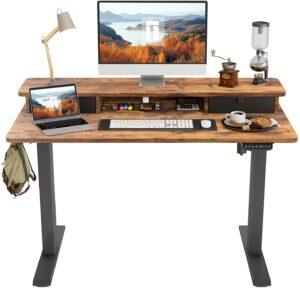 升降桌推荐FEZIBO Height Adjustable Electric Standing Desk with Double Drawer