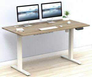 办公升降桌推荐SHW 55-Inch Large Electric Height Adjustable Computer Desk, 55 x 28 Inches, Oak