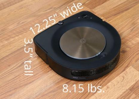 从视觉上看,Roomba S9+ 与其他方形前置机器人相比尺寸相似。它具有12.25 英寸直径,3.5 英寸高,重8.15 磅。