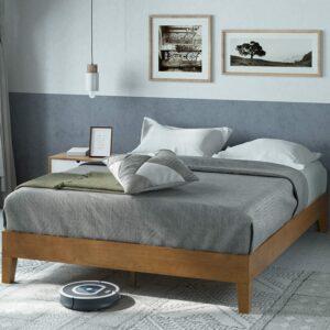 美国床垫推荐Zinus 12 Inch Deluxe Wood Platform Bed Frame