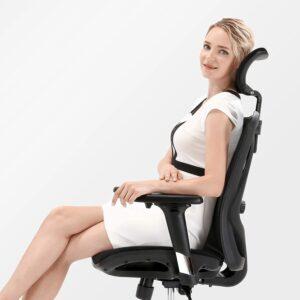 透气网布设计高靠背桌椅带可调节头枕和腰部支撑的人体工学椅 SIHOO Office Chair Ergonomic Office Chair