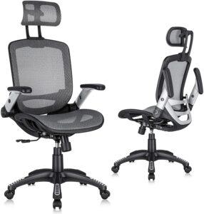 高靠背可调节头枕带上翻臂,倾斜功能,腰部支撑的人体工学网布办公椅 Gabrylly Ergonomic Mesh Office Chair