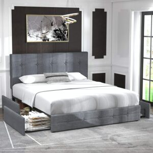 美国床架推荐Allewie Queen Platform Bed Frame with 4 Drawers Storage and Headboard
