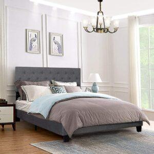 美国床架推荐Giantex Shalini Upholstered Panel Platform Bed Frame