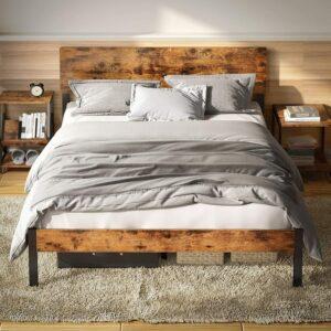 美国床架推荐LIKIMIO Bed Frame with Headboard