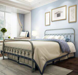美国床架推荐TUSSER Metal Bed Frame with Vintage Headboard and Footboard