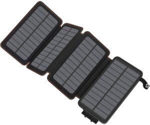 可折叠防水25000毫安太阳能移动电源 Hiluckey Portable Power Bank with Dual USB Ports Waterproof Battery Charger for Smartphones and Tablets