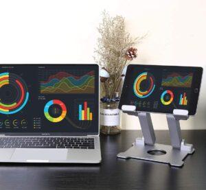 坚固、可调节视线水平的 iPad 桌面支架 Tablet Stand,KABCON Adjustable Aluminum Tablets(7-13.5 inch) Holder for iPad