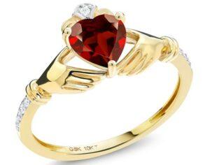 宝石王10K黄金诞生石克拉达戒指