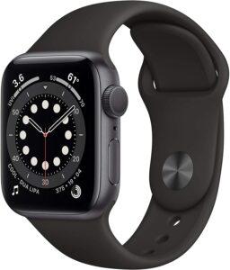 新款Apple Watch Series 6(GPS,40 毫米)- 深空灰色铝制表壳配黑色运动表带