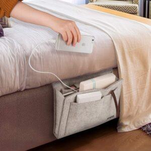 适用于 iPad、iPhone 和书籍的天然毛毡床头整理器 Hyness Bedside Storage Organizer