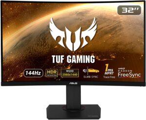 游戏显示器ASUS TUF Gaming 32inch 2K HDR Curved Monitor (VG32VQ) - WQHD (2560 x 1440), 144Hz, 1ms