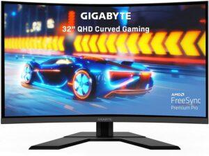 游戏显示器GIGABYTE G32QC A (32INCH 165Hz 1440P Curved Gaming Monitor, 2560 x 1440 VA 1500R Display, 1ms (MPRT)