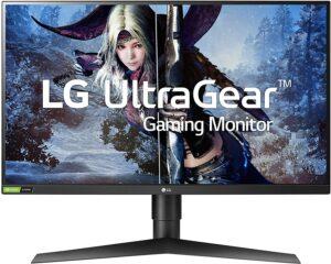 最佳1440P 144HZ 游戏显示器LG 27GL83A-B 27 Inch Ultragear QHD IPS 1ms NVIDIA G-SYNC Compatible Gaming Monitor