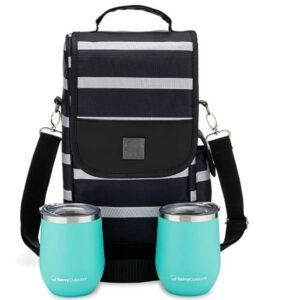 一个 Savvy Girl 葡萄酒手提袋,带不锈钢无柄酒杯 - 2 瓶装酒袋 - 适合旅行、活动、海滩、游泳池、野餐等