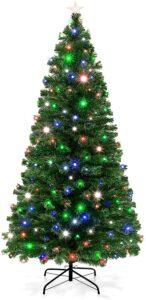 带灯的圣诞树推荐 Best Choice Products 7-Foot Pre-Lit Fiber Optic Artificial Christmas Pine Tree