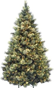 最佳人造圣诞树推荐National Tree Carolina Pine Tree with Clear Lights 7.5 Feet