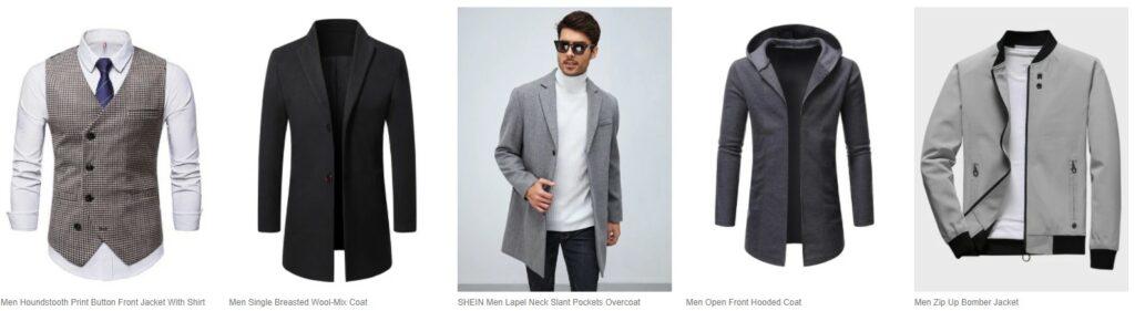 男士服装,夹克等: