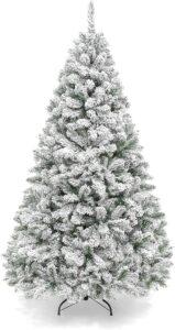 白色人造圣诞树Best Choice Products 6ft Premium Snow Flocked Artificial Holiday Christmas Pine Tree