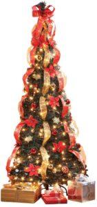 金色圣诞树HOLIDAY PEAK 7' Pull-Up Poinsettia Christmas Tree